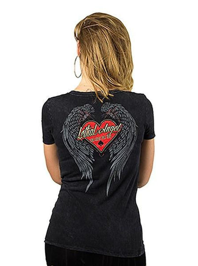 "Women's ""Built to Last"" Tee by Lethal Angel (Washed Black) - www.inkedshop.com"