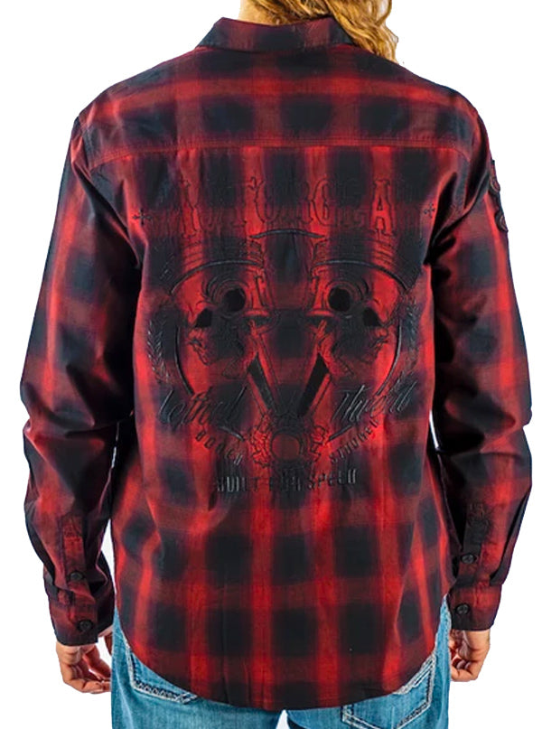 Men's Built for Speed Rust Plaid Long Sleeve by Lethal Threat (Red)