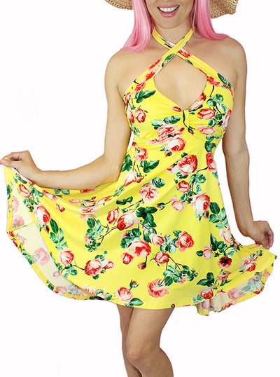 "Women's ""Bunni Country"" Floral Halter Dress by Demi Loon (More Options)"
