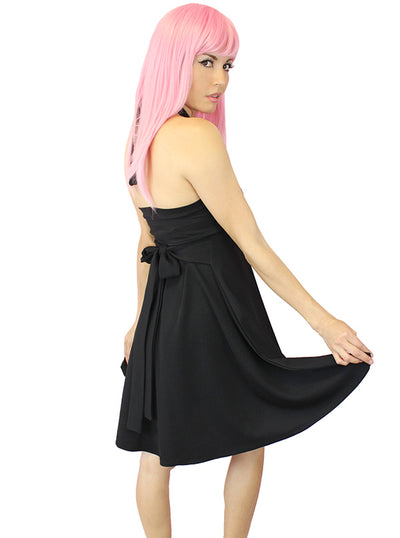 "Women's ""Bunni"" Pinup Halter Dress by Demi Loon (Black)"