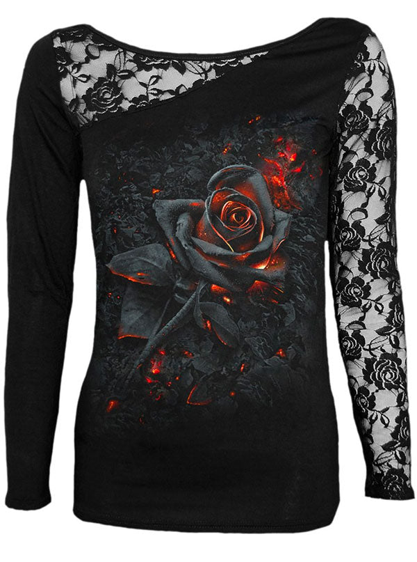 "Women's ""Burnt Rose"" Lace One Shoulder Top by Spiral USA (Black)"