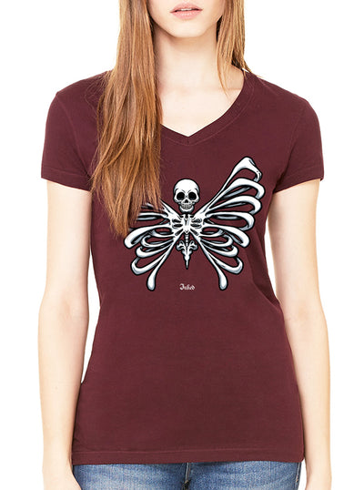 "Women's ""Bone Butterfly"" V-Neck Tee by Inked (More Options)"