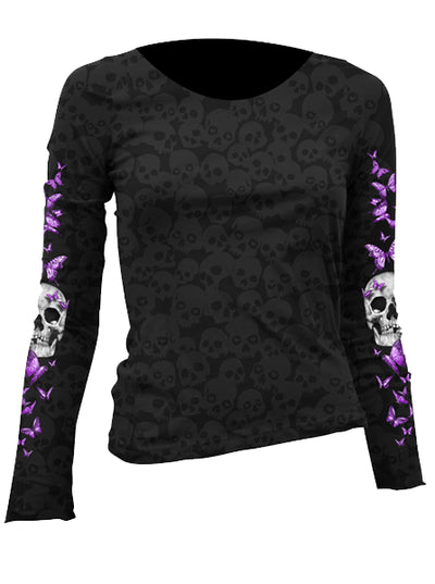 "Women's ""Butterfly Skull"" Long Sleeve Burnout Tee by Lethal Angel (Black) - www.inkedshop.com"