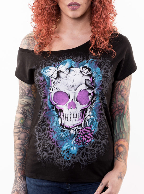 "Women's ""DOTD Girl"" Off the Shoulder Tee by Lethal Angel (Black)"