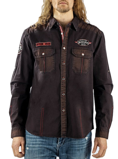 Men's Speed Equals Power Button Down by Lethal Threat (Brown)