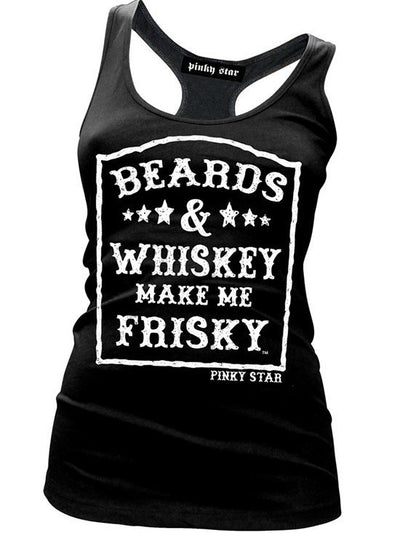 "Women's ""Beards and Whiskey Make Me Frisky"" Racerback Tank by Pinky Star (Black) - www.inkedshop.com"