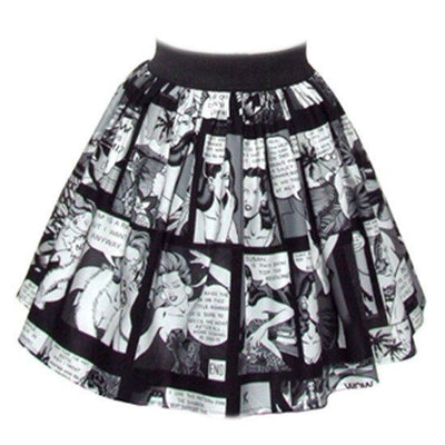 "Women's ""Pinup Comic Strip"" Skirt by Hemet (Black/White) - www.inkedshop.com"