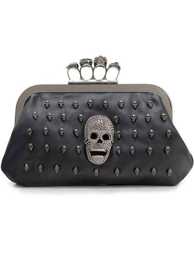 "Women's ""Skull"" Clutch With Knuckle Handle by Double Trouble Apparel (Black) - www.inkedshop.com"