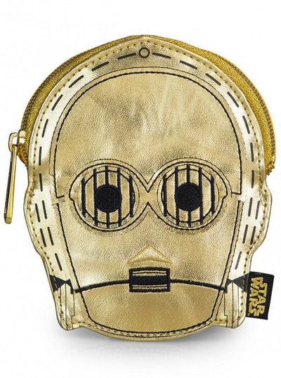 """Star Wars C-3PO"" Faux Leather Face Coin Bag by Loungefly (Gold) - www.inkedshop.com"