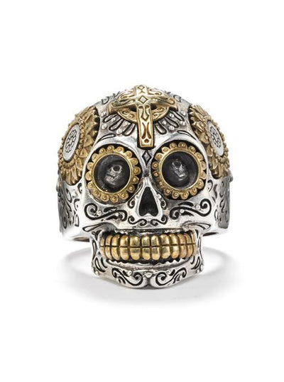 """Calavera Sugar Skull"" Ring by Silver Phantom Jewelry"