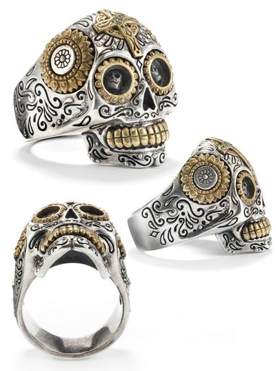 Calavera Sugar Skull Ring by Silver Phantom Jewelry