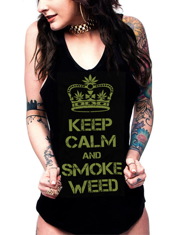 Women's Keep Calm Tank by 7th Revolution (Black)