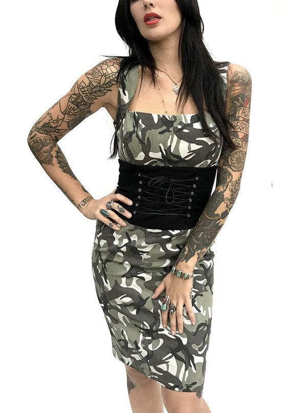 "Women's ""Camo"" Cincher Dress by Switchblade Stiletto (Camo)"