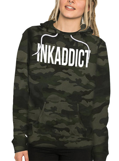 "Unisex ""Inkaddict"" Camo Hoodie by InkAddict (More Options)"