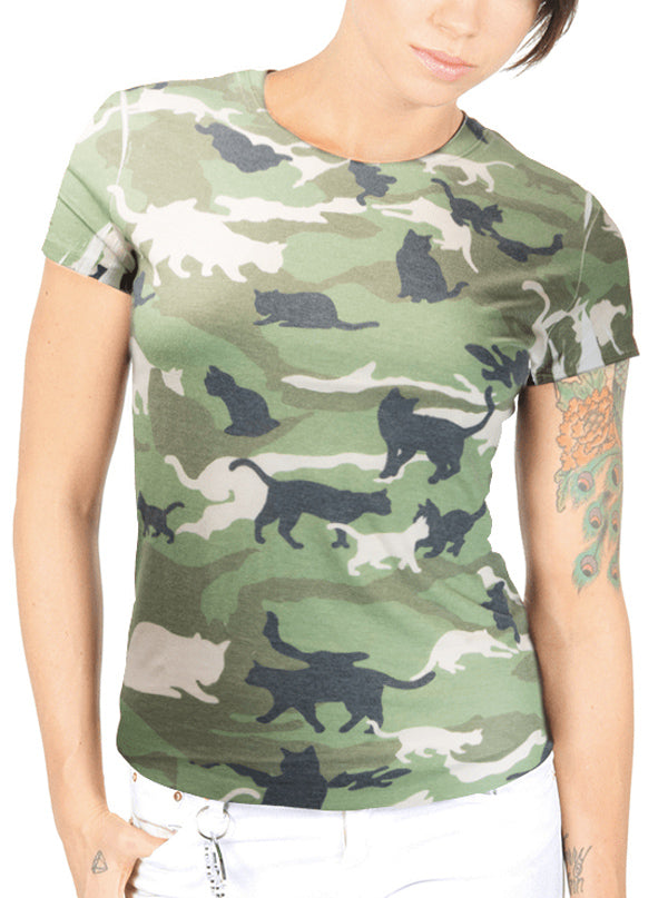 "Women's ""Catmouflage"" Cat Camo Sublimated Tee by Goodie Two Sleeves (Camo)"