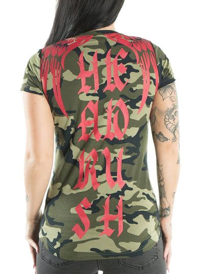 "Women's ""Sell Me Candy"" V-Neck Tee by Headrush Brand (Camo)"