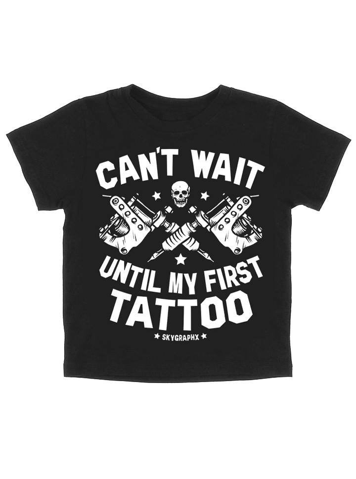 "Kid's ""Can't Wait Until My First Tattoo"" Tee by Skygraphx (Black) - www.inkedshop.com"