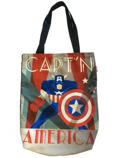 """Cap'n America"" Canvas Shopper Tote by Marvel (Multi) - www.inkedshop.com"
