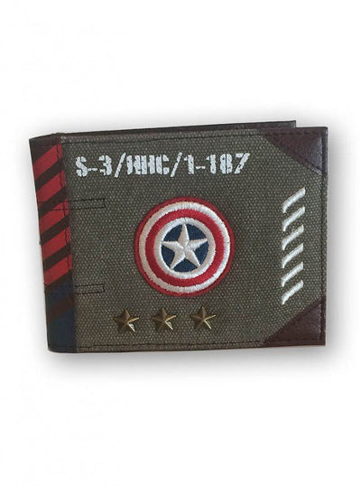 """Cap'n America"" Vintage Military Canvas Wallet by Marvel (Green) - www.inkedshop.com"