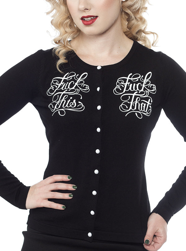 Women's Fuck This Cardigan by Sourpuss