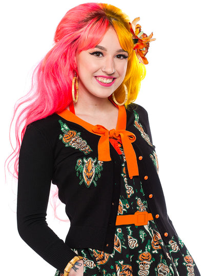 Women's Hallow Tiki Cropped Cardigan by Sourpuss