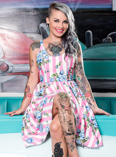 "Women's ""Carousel Roses"" Sweets Dress by Sourpuss (Pink)"