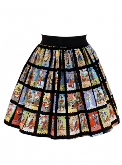 "Women's ""Cartas Marcadas"" Pleated Skirt by Hemet (Black) - www.inkedshop.com"