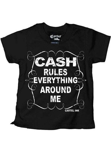 "Kid's ""Cash Rules"" Tee Shirt by Cartel Ink (Black) - www.inkedshop.com"