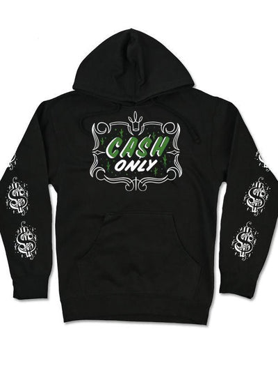 "Men's ""Cash Only"" Hoodie by InkAddict (Black)"