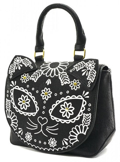 "Women's ""Sugar Skull Cat"" Crossbody Bag by Loungefly (Black)"