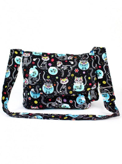 """Day of the Dead Cat"" Messenger Bag By Hemet (Black) - www.inkedshop.com"