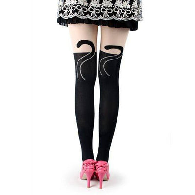 "Women's ""Cat Tails"" Tights (Black) - InkedShop - 2"