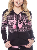 "Women's ""Cat Lady"" Knit Hoodie by Sourpuss (Black)"