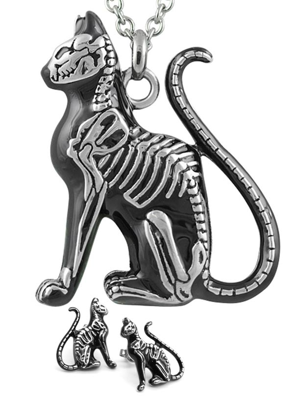 Women's Feral Bones Necklace and Earrings by Controse (Silver/Black)