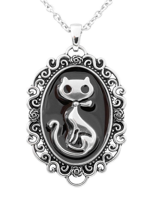 Cat Silhouette Cameo Necklace by Controse