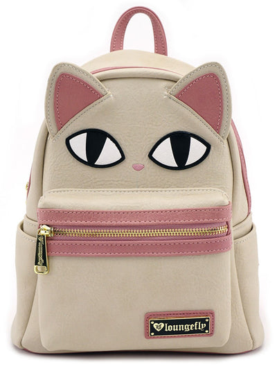 """Cat Eyes"" Faux Leather Mini Backpack by Loungefly (Cream)"