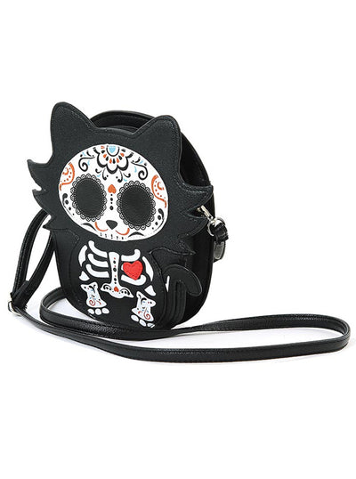 """Tattooed Skeleton Cat with A Heart"" Shoulder Crossbody Bag (Black)"