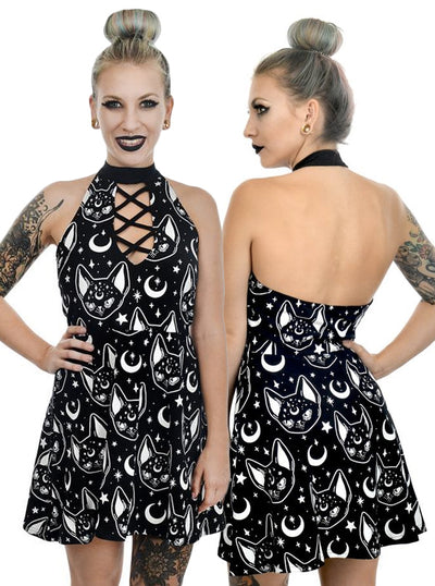 Women's Witchy Cat Skater Dress by Rat Baby