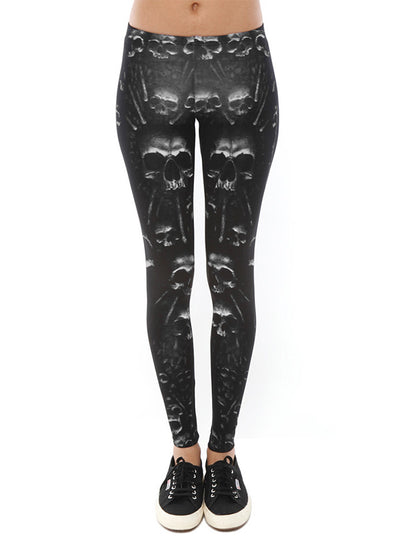"Women's ""Catacomb"" Allover Leggings by Spiral USA (Black)"