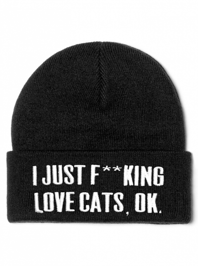 """Cats"" Beanie by Killstar (Black) - www.inkedshop.com"