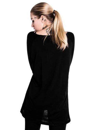 "Women's ""Cats"" Raglan Top by Killstar (Black)"