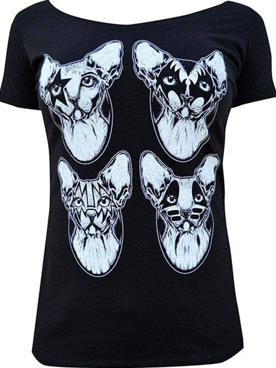 "Women's ""Kiss Cats"" Scoop Neck by Lowbrow Art (Black) - InkedShop - 1"
