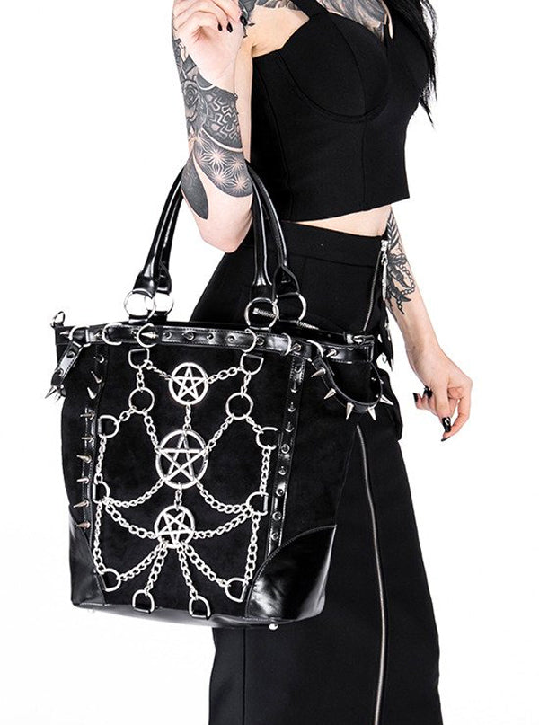 Chained Pentagram Tote Handbag by Restyle