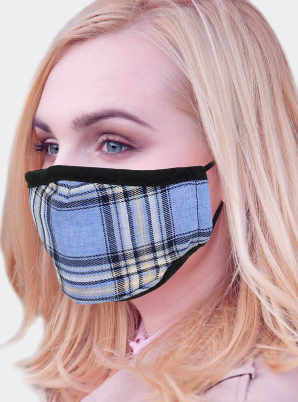 Plaid Check 2 Layer Face Mask