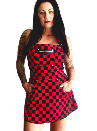 Women's Suspender Dress by Switchblade Stiletto (Checkered)