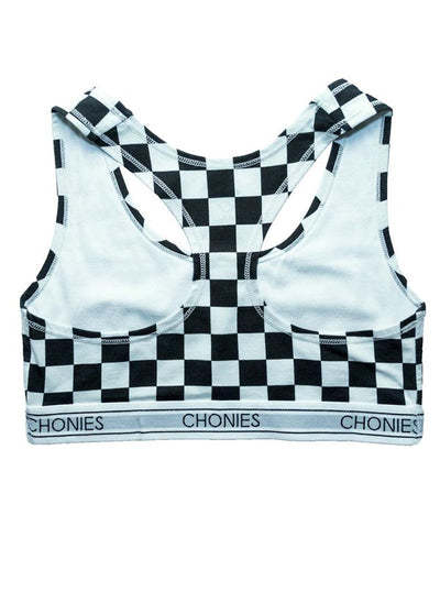 "Women's ""Checkered"" Sports Bra by Chonies (Black/White)"