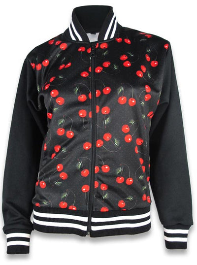 "Women's ""Cherries"" Jacket by Liquorbrand (Black)"