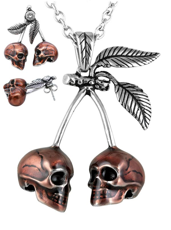 """Cherry Skulls"" Necklace and Earrings by Controse (Silver)"