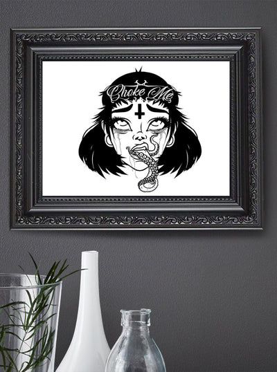 Choke Me Print by Miss Cherry Martini for Lowbrow Art Company