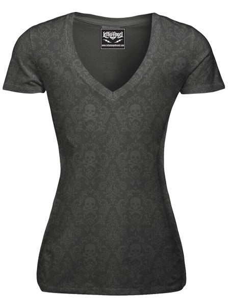 "Women's ""Classic Skull"" Burnout Tee by Lethal Angel (Grey) - www.inkedshop.com"